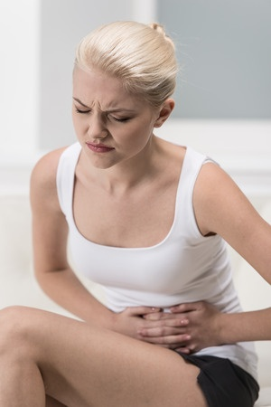 woman with bladder pain